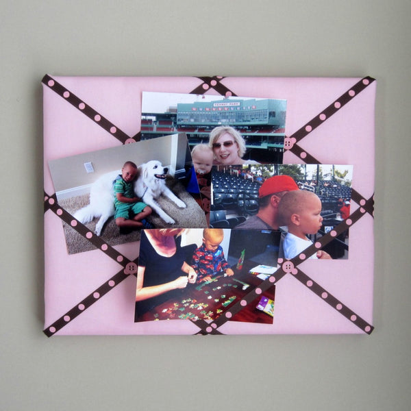 "11""x14"" Memory Board or Bow Holder-Pink & Brown Polka Dot - Hold It!"