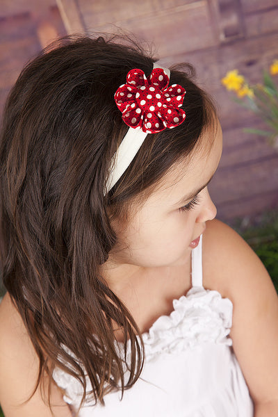 Red & Black Polka Dot Kanzashi Fabric Flower-Available in 4 Styles - Hold It!