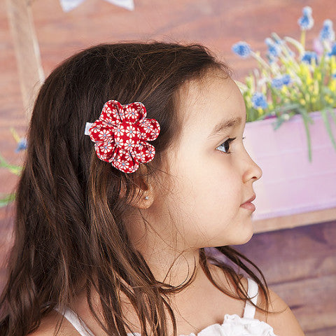 Daisy Bloom Red Kanzashi Fabric Flower-Available in 4 Styles - Hold It!