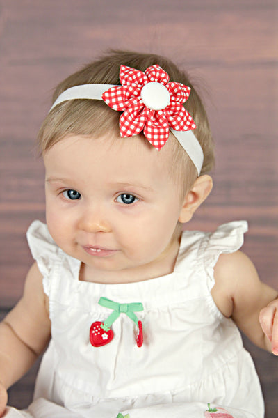 Red & White Gingham Kanzashi Fabric Flower-Available in 4 Styles - Hold It!