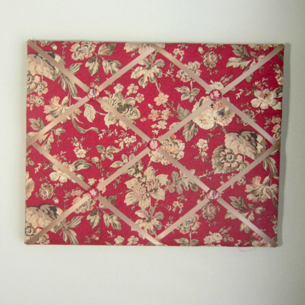 "16""x20""  Memory Board or Bow Holder-Red Jacobean Rose Blooms - Hold It!"