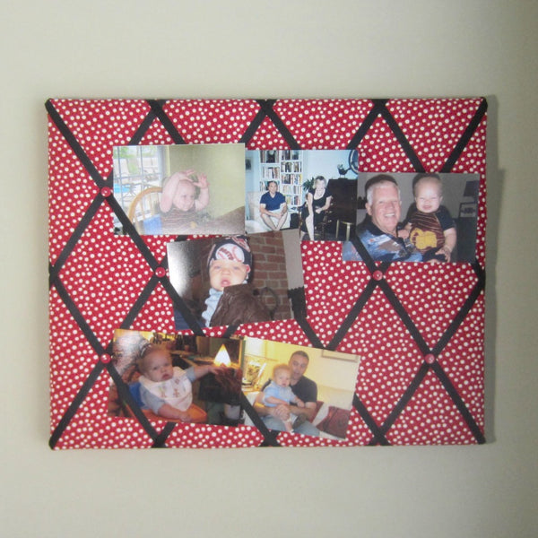 "16""x20"" Memory Board or Bow Holder-Red, Black & White Polka Dot - Hold It!"