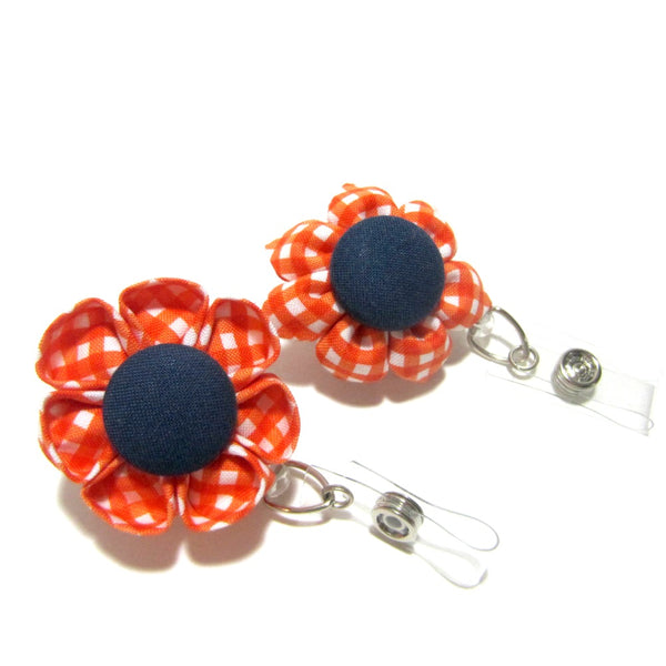 Orange & Navy Gingham Flower Retractable Badge Reel, ID Holder, Lanyard - Hold It!