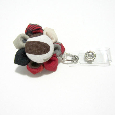 Red, Brown, Cream Flower Retractable Badge Reel, ID Holder, Lanyard