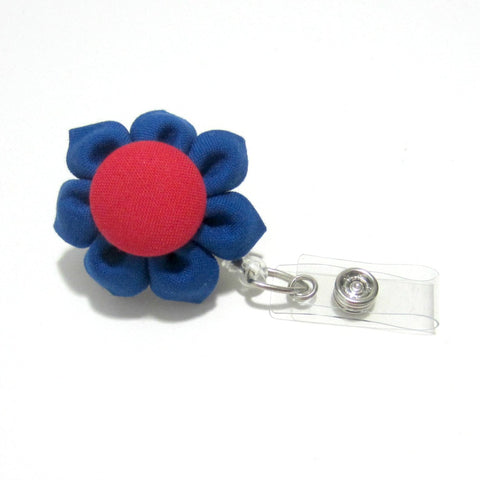 Royal Blue & Red Flower Retractable Badge Reel, ID Holder, Lanyard