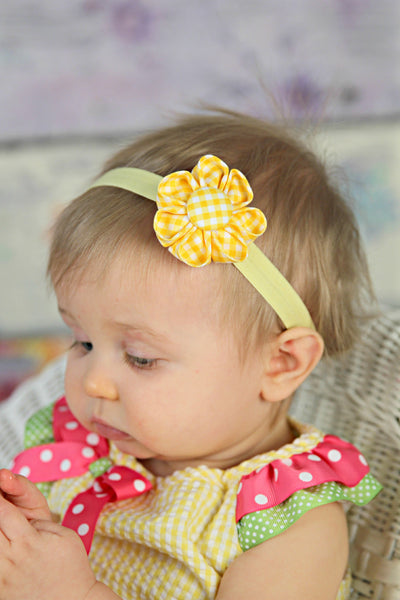 Yellow Gingham Kanzashi Fabric Flower-Available in 4 Styles - Hold It!