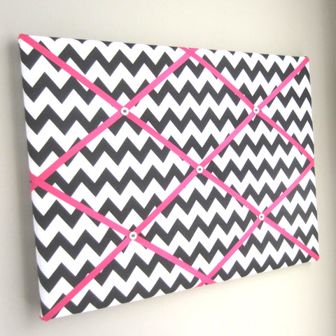 "16""x20"" Memory Board or Bow Holder-Black and Hot Pink Chevron - Hold It!"