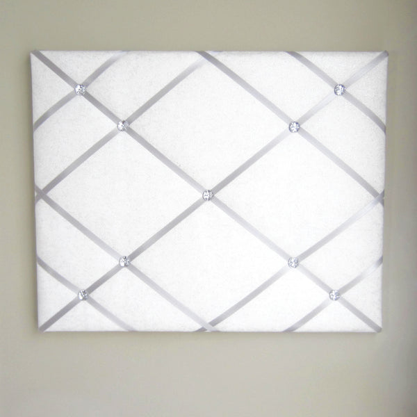 "16""x20"" Memory Board or Bow Holder-White & Silver Fairy Frost - Hold It!"