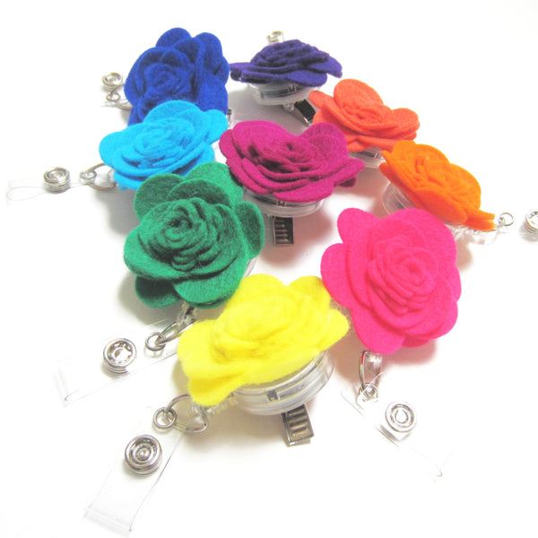 Felt Flower Retractable Badge Reel, ID Holder, Lanyard, 9 Colors Available - Hold It!