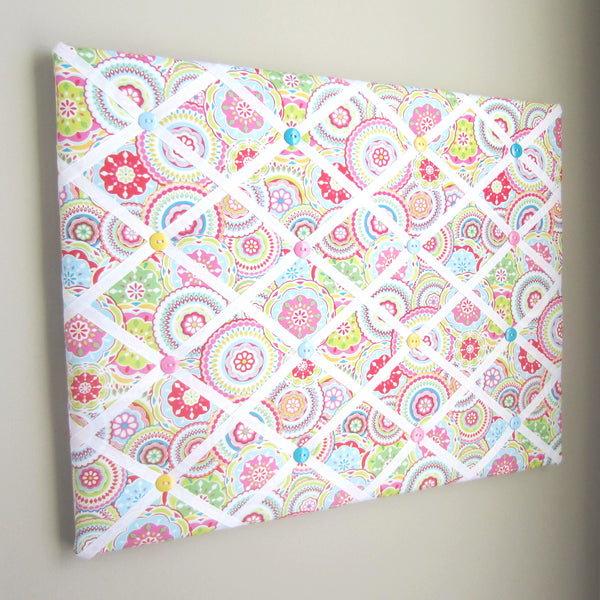 "16""x20"" Memory Board or Bow Holder-Mosaic Pink, Blue, Green, Yellow - Hold It!"