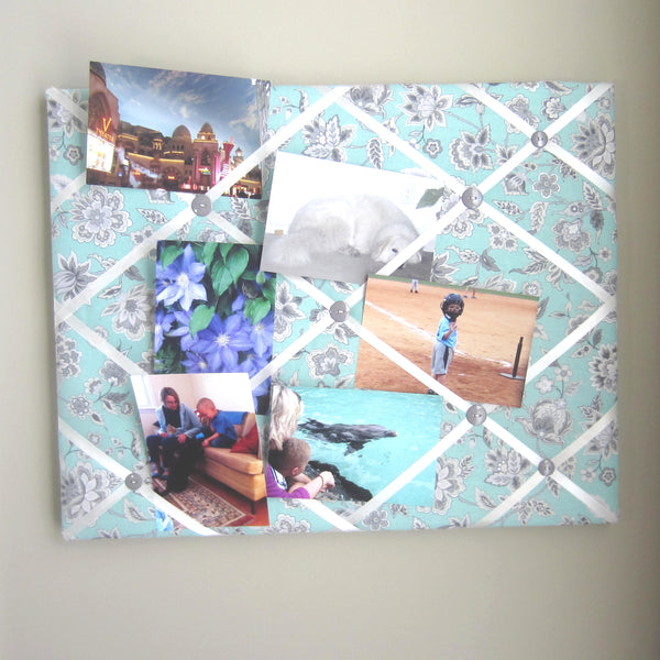 "16""x20"" Memory Board or Bow Holder-Green & Gray Floral - Hold It!"
