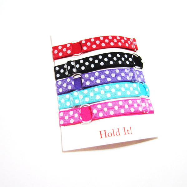 Adjustable Elastic Headband-Set of 5 Bright Polka Dot - Hold It!