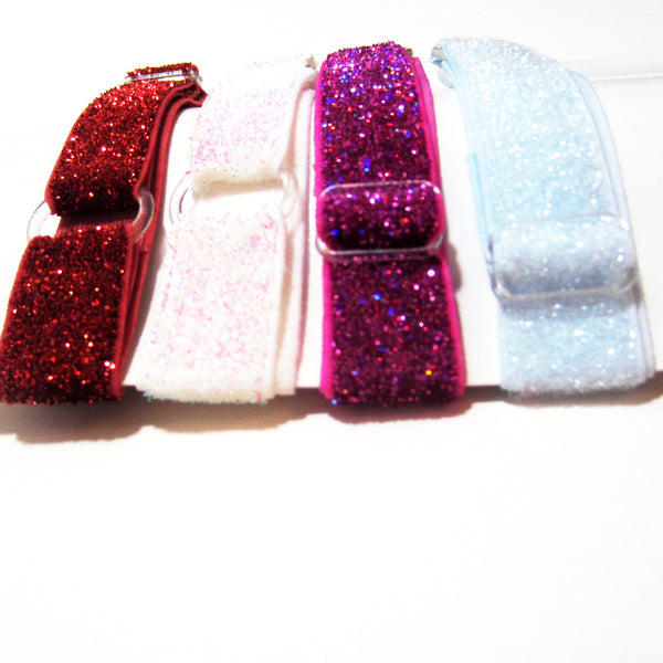 Adjustable Elastic Headband-Set of 4 Red, Iridescent, Hot Pink, Blue Frost Glitter - Hold It!