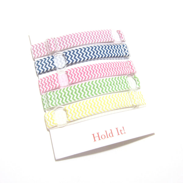 Set of 5 Adjustable Headbands - Pastel Chevron - Hold It!