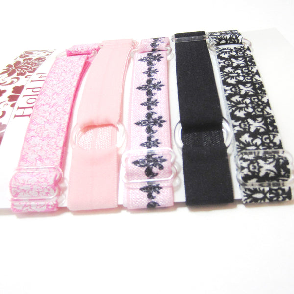Set of 5 Adjustable Headbands - Pink & Black Damask - Hold It!