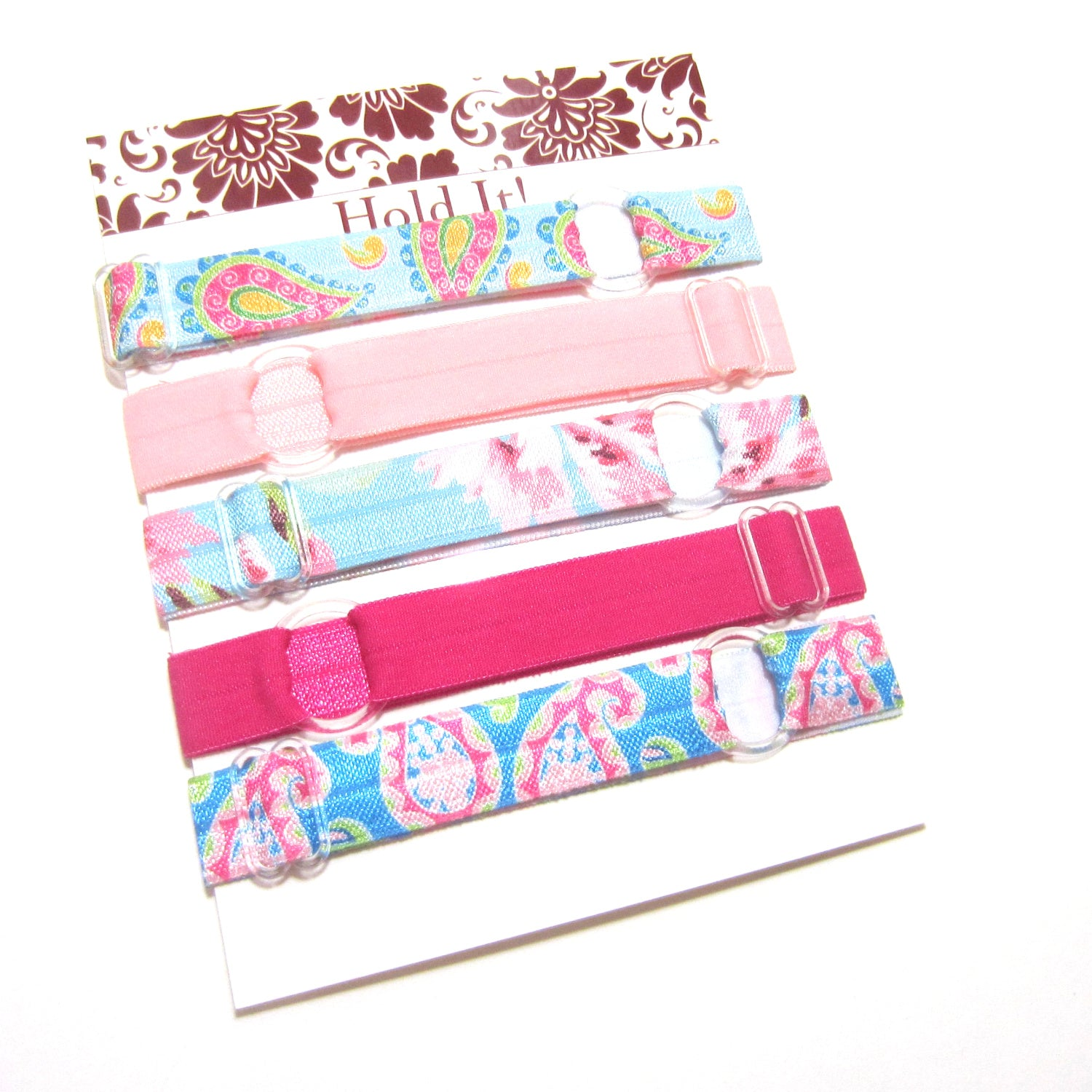 Set of 5 Adjustable Headbands - Blue & Pink Paisley Floral - Hold It!