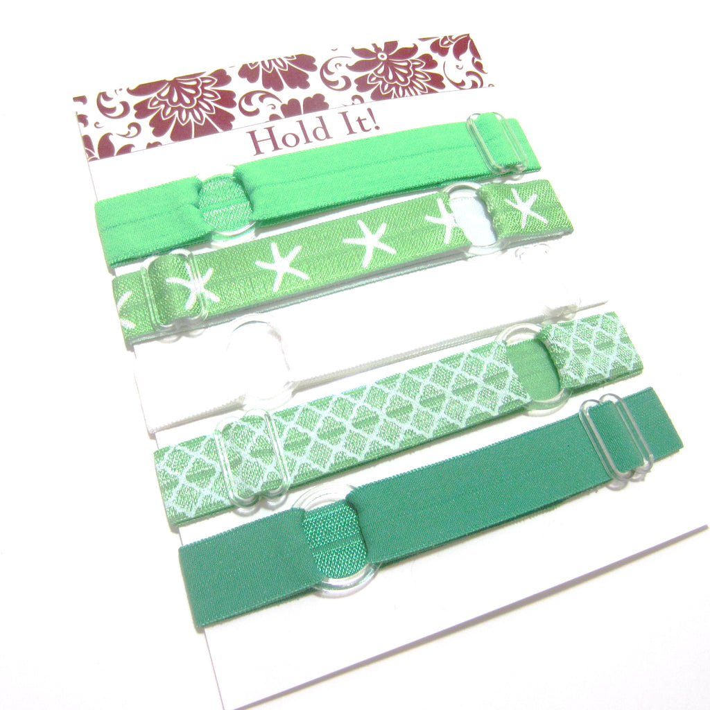 Set of 5 Adjustable Headbands - Green Starfish - Hold It!