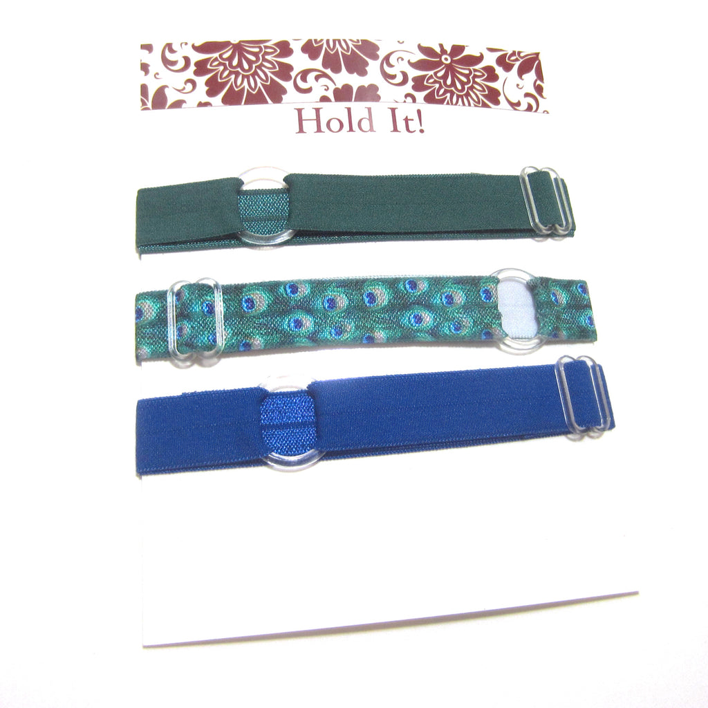 Set of 3 Adjustable Headbands - Green & Blue Peacock - Hold It!