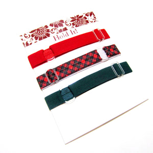 Set of 3 Adjustable Headbands - Red Tartan Plaid - Hold It!