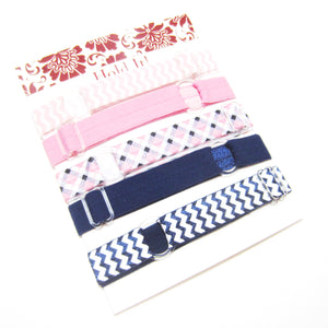 Set of 5 Adjustable Headbands - Pink Tartan Plaid - Hold It!