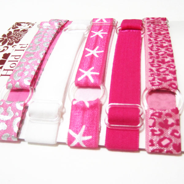 Set of 5 Adjustable Headbands - Hot Pink Starfish - Hold It!