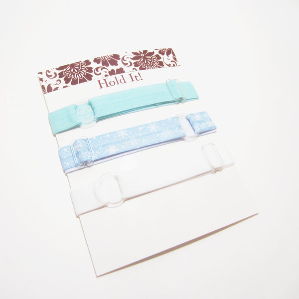Copy of Set of 3 Adjustable Headbands - Blue & White Snowflake - Hold It!