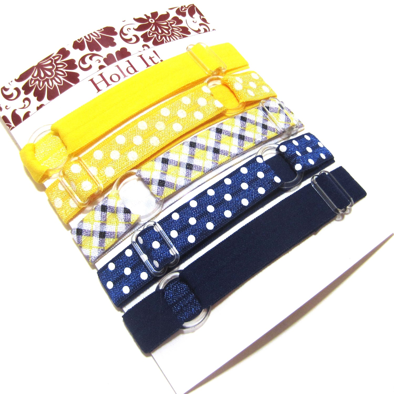 Set of 5 Adjustable Headbands - Yellow Tartan Plaid - Hold It!