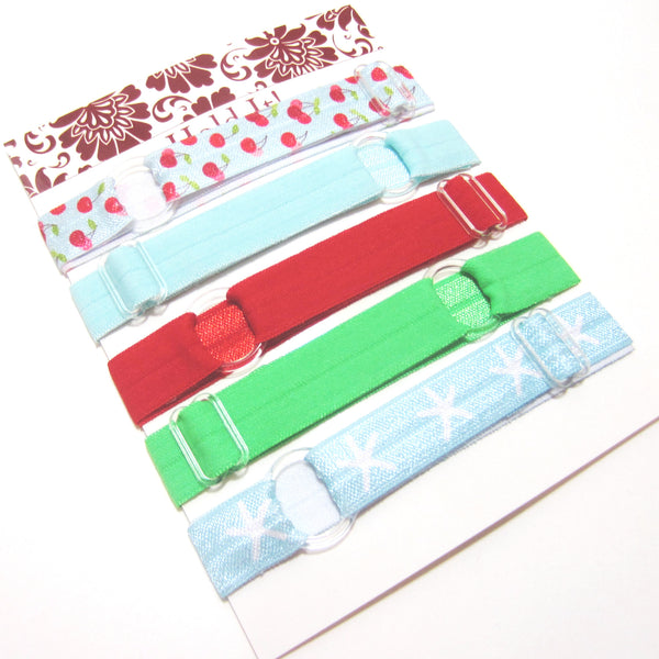 Set of 5 Adjustable Headbands - Spring Cherries - Hold It!