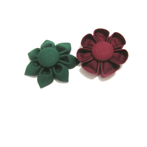 Christmas Green or Cranberry Kanzashi Fabric Flower-Available in 4 Styles - Hold It!