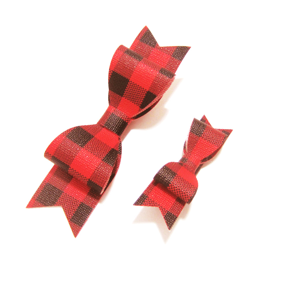 Red & Black Buffalo Plaid Bow Hair Clip - Small or Large - Hold It!