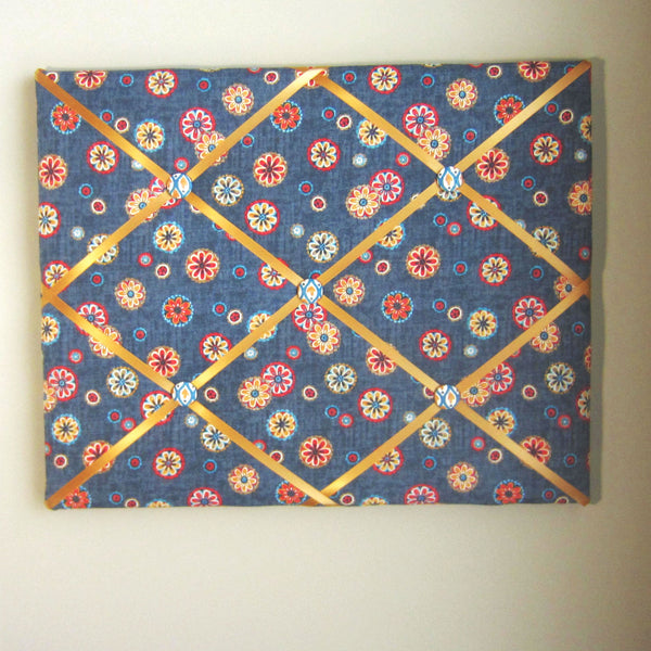 "Navy Floral Medallion - 16""x20"" Memory Board - Hold It!"