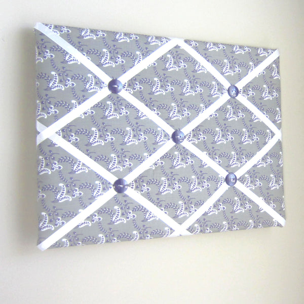 "11""x14"" Memory Board or Bow Holder-Purple, Grey, Green, Ivory Floral - Hold It!"