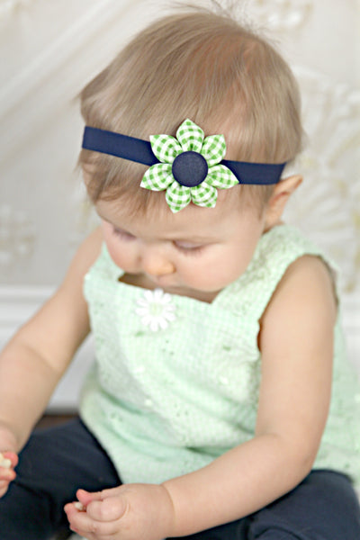 Green Gingham & Navy Blue Kanzashi Fabric Flower-Available in 4 Styles - Hold It!