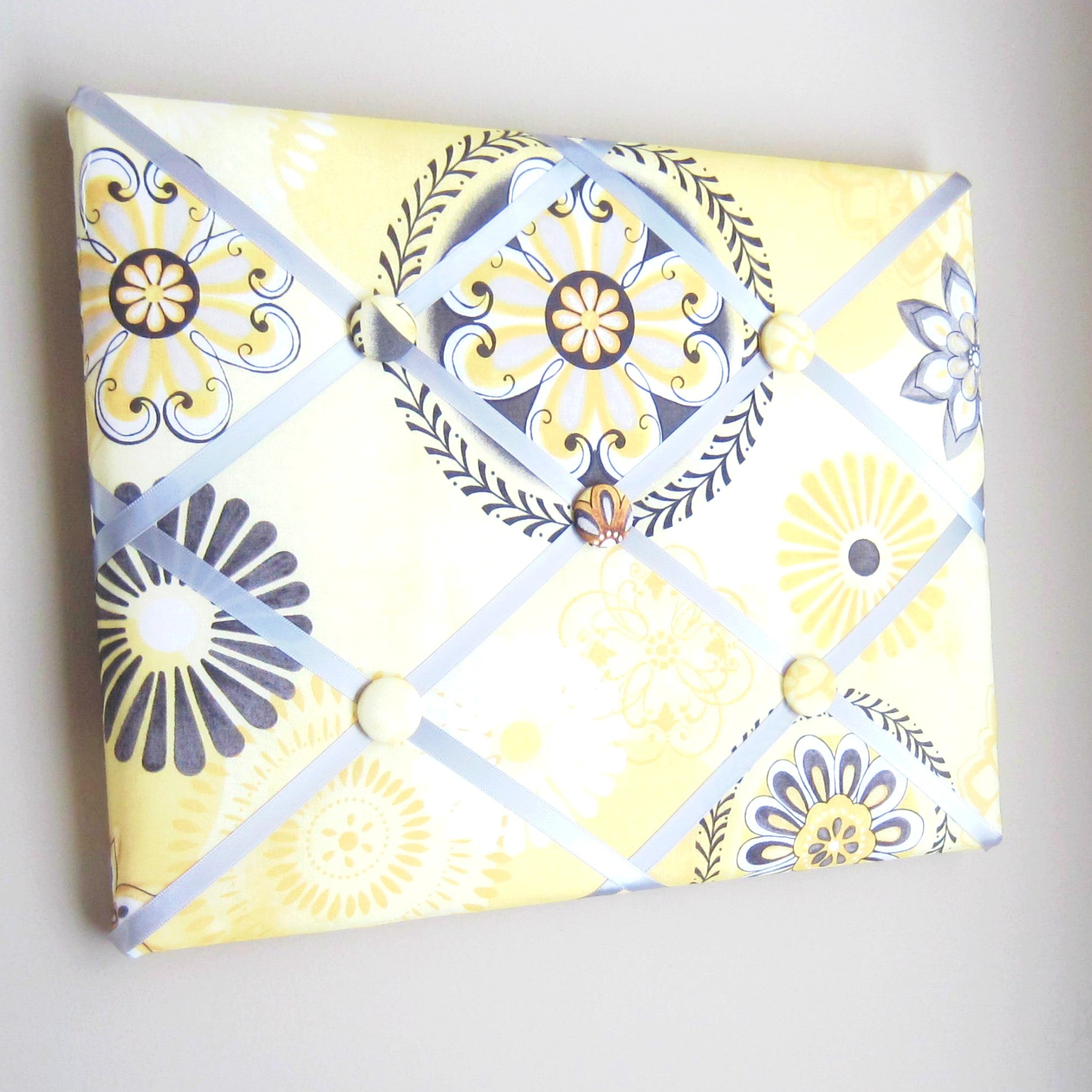 "11""x14""  Memory Board or Bow Holder-Yellow Floral Suzanni"