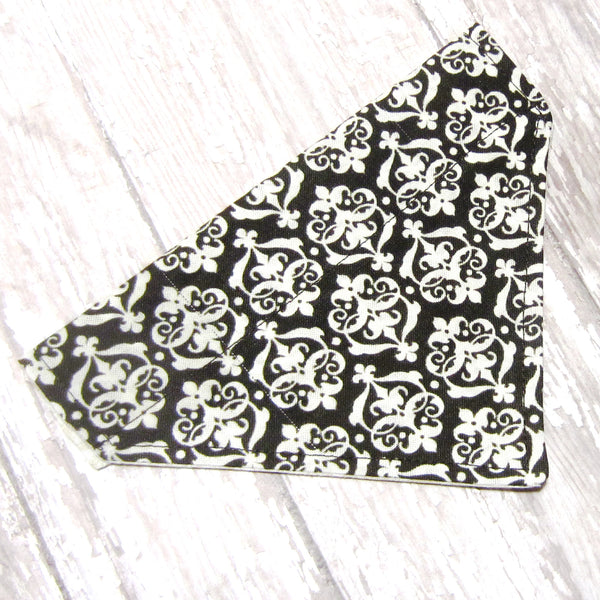 Brown Damask Pet Bandana-4 Sizes Fits Over Collar