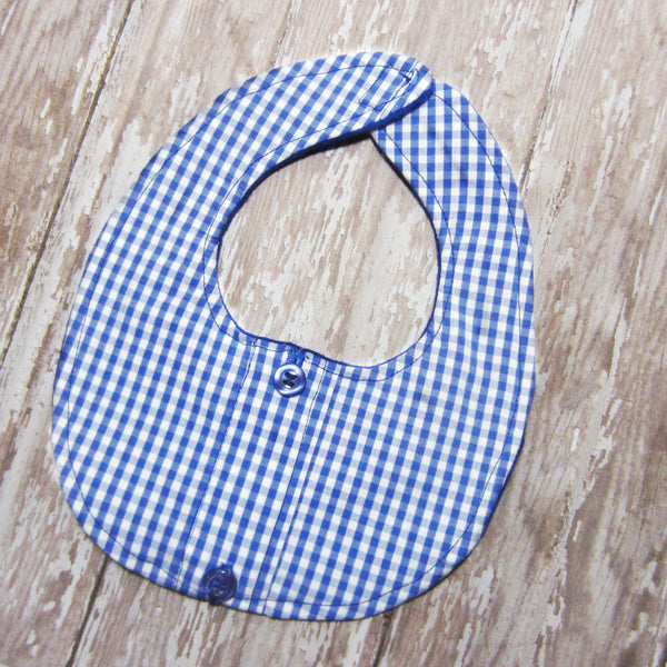Royal Blue Plaid Drool Bib