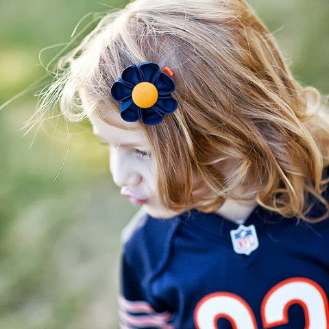 Navy Blue & Orange  Kanzashi Fabric Flower-Available in 4 Styles - Hold It!