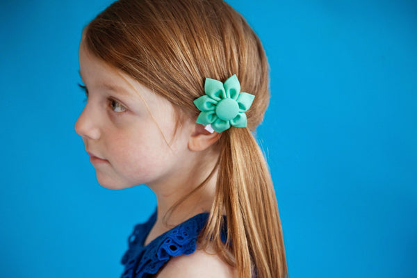 Aloe Very Green Kanzashi Fabric Flower - Available in 4 Styles - Hold It!