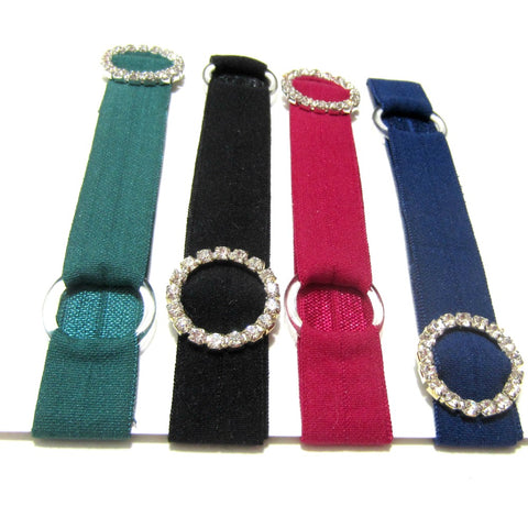 Adjustable Elastic Headband-Set of 4 Jewel Tones with Rhinestones - Hold It!