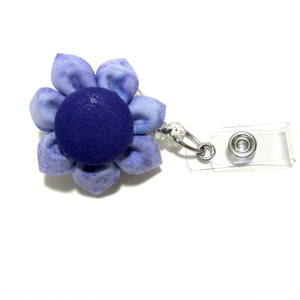 Lavender Batik Flower Retractable Badge Reel, ID Holder, Lanyard - Hold It!
