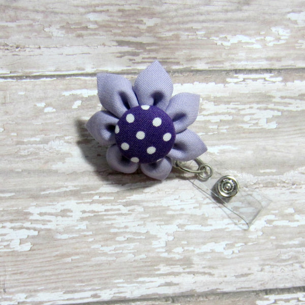 Lavender & Purple Polka Dot Flower Retractable Badge Reel, ID Holder, Lanyard - Hold It!