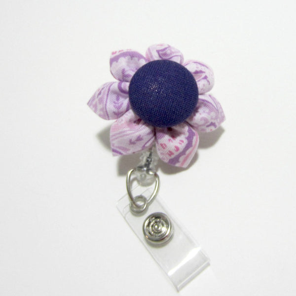 Lavender Paisley Flower Retractable Badge Reel, ID Holder, Lanyard - Hold It!