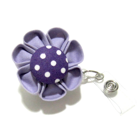 Lavender & Purple Polka Dot Flower Retractable Badge Reel, ID Holder, Lanyard