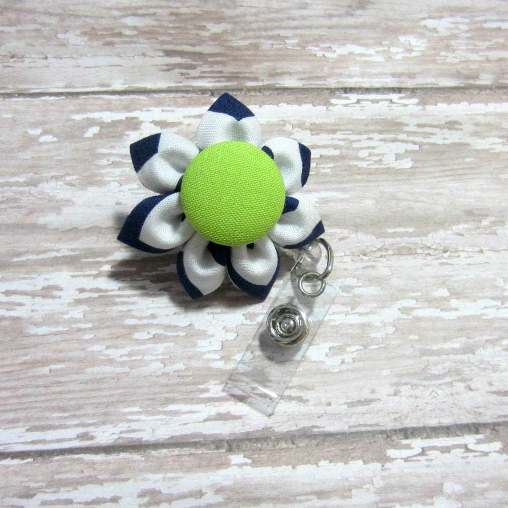 Navy Chevron & Lime Green Flower Retractable Badge Reel, ID Holder, Lanyard - Hold It!