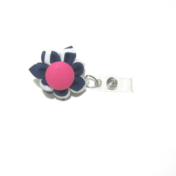Navy Blue & Hot Pink Flower Retractable Badge Reel, ID Holder, Lanyard - Hold It!
