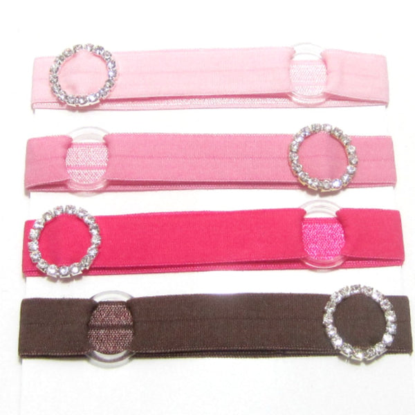 Adjustable Elastic Headband-Set of 4 Neapolitan with Rhinestones - Hold It!