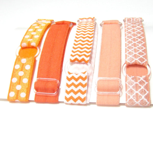 Adjustable Elastic Headband-Set of 5 Orange & Peach - Hold It!