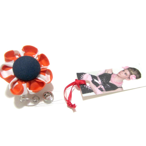 Orange Quatrefoil & Navy Blue Flower Retractable Badge Reel, ID Holder, Lanyard - Hold It!
