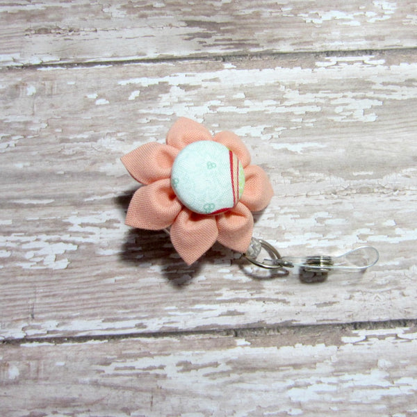 Peach Flower Retractable Badge Reel, ID Holder, Lanyard - Hold It!