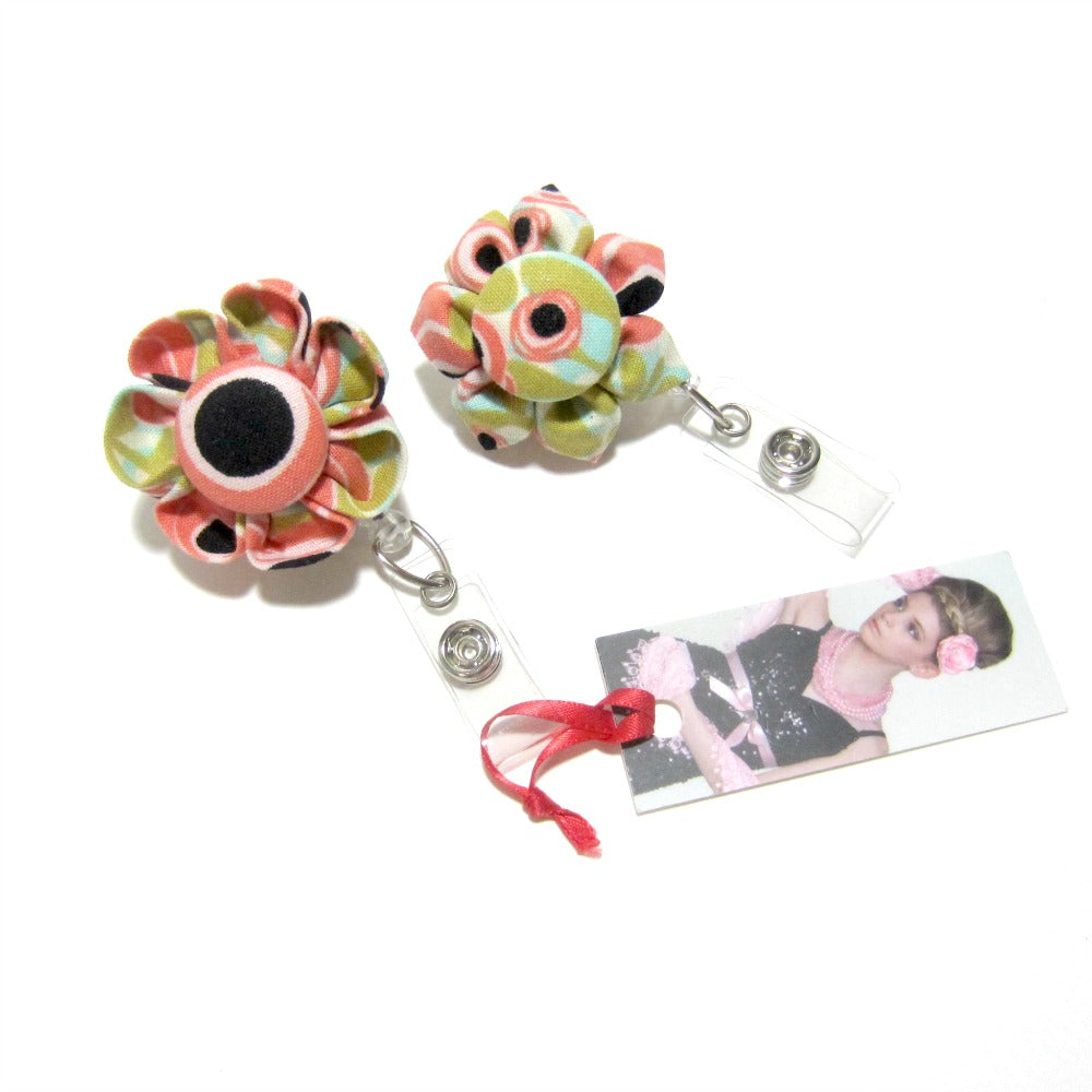 Peach Swirl Flower Retractable Badge Reel, ID Holder, Lanyard - Hold It!